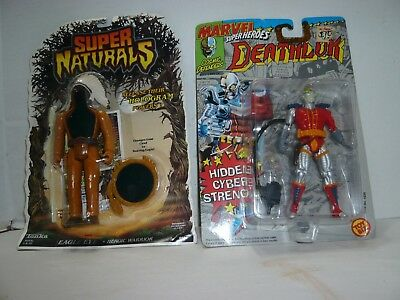 1992 Toy Biz Marvel Deathlok & 1987 Tonka Super Natural Eagle Eye Mint On Cards