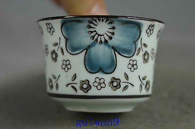 Collectible Handwork Old Porcelain Paint Auspicipus Flwoer Bring Happiness Cup