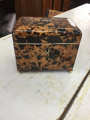 19thC Faux Tortoise Shell Tea Caddy