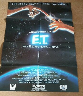 E.T. THE EXTRA TERRESTRIAL (1982) Original UK CIC Video Release Poster.