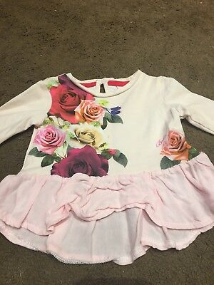 Ted Baker Girls Top Tunic Rose Detail 0-3 Great Condition