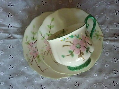 Hand Painted Cup, Saucer & Plate Pink Flowers 1940's