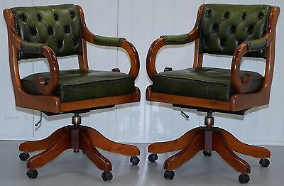One Of Two Aged Green Leather Chesterfield Captains Chair Narrow To Fit In Desk