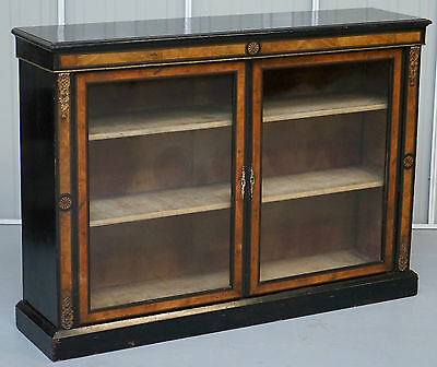 Rare Find Regency Period Circa 1820 Ebonised & Inlaid Bookcase With Glass Doors