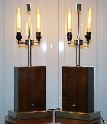 Pair Of Stunning Ralph Lauren Rosewood & Chrome Table Lamps Rrp £6800 Rare Find
