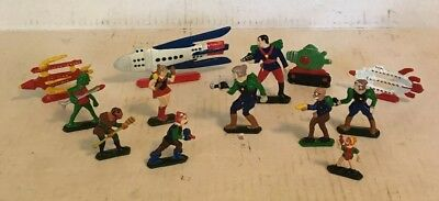 Vintage Buck Rogers Lot Of 13 Figures And Rocket Ships Recast Set