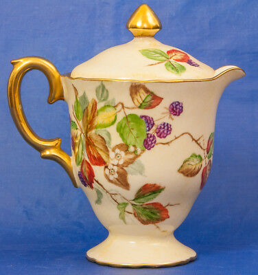 Hand Painted Brambles & Blossom Crown Staffordshire Lidded Jug 5.5 Inches tall