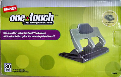 Staples One-Touch 3 Hole Punch--New--Free Shipping