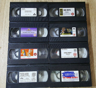 Job Lot Of 8 Vhs Movies & Music Tapes Without Case Or Covers- (C1)