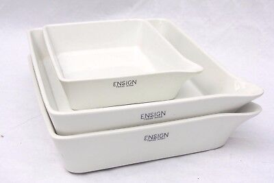 """lot THREE x Ensign porcelain Developing Trays, two at 9""""x7"""" & one at 5""""x7"""""""