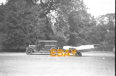 Five Pre War Negatives.Unknown Vintage Saloon Car Towing A Boat.c1930's.All Show