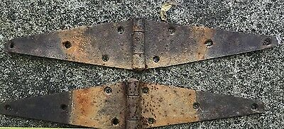 """VTG Lot of 2 Rustic Barn Door Old Gate 15"""" Hinges Old Hardware Rusty Patina"""