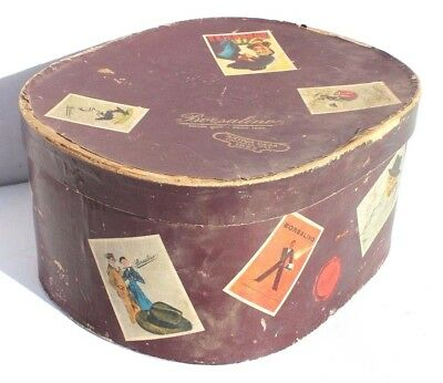 Vintage 1950's Brown Illustrated BORSALINO Italy Men's Hat Box