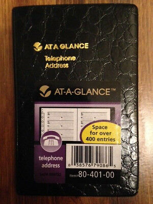 "AT-A-GLANCE 4 1/4"" x 2 3/4"" Small Designer Telephone/Address Book, Black"