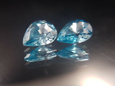 Natural Blue Zircon pair of pear cut gemstones 2.72ct combined