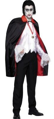 Dracula Cape Vampire Reversible Cloak Black & Red Halloween Fancy Dress Costume