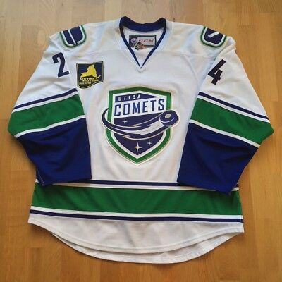 2015-16 Utica Comets Cole Cassels Game Worn Jersey Vancouver Canucks Prospect