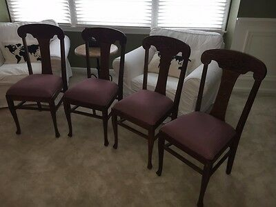 4 Antique Oak T Back Style Chairs Early 1900s
