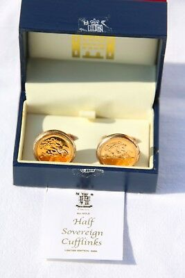 Royal Mint 22 carat gold 2003 half sovereign cufflinks COA presentation box