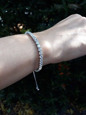 925 Sterling Silver High Quality Rhinestone/Zc Tennis Bracelet Adjustable Size