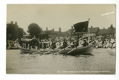Thames Postcard: King & Queen in State Barge, Henley Regatta Oxon, Real Photo