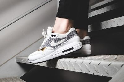brand new 164d4 728ad Nike Air Max 1 SE White Black Gold Womens Shoes 881101-100 Size 7.5-