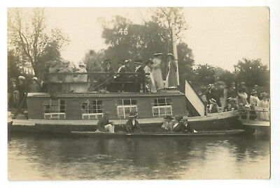 """Thames Postcard: """"Watching the Eights"""", Oxford. College barge. Real Photo."""