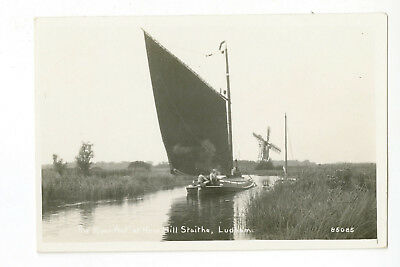 Norfolk Broads Postcard: Wherry on River Ant at Haw Hill Staithe, RP posted 1926