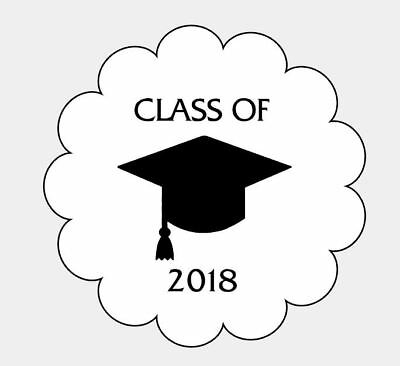"(12) Class of 2019 Graduation 2 1/2"" Scalloped Stickers Favors Parties Gifts"