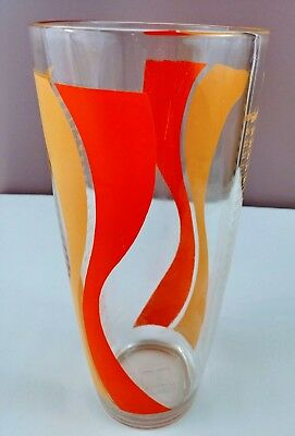 "Irvinware Cocktail Shaker Mixer Yellow Orange Swirl Glass 9"" Vintage Barware"