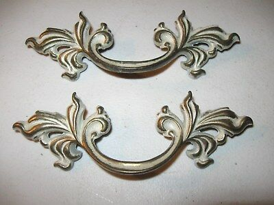 (2)  Vintage Brass And Paint Finish French Provincial Drawer Pulls / Handles