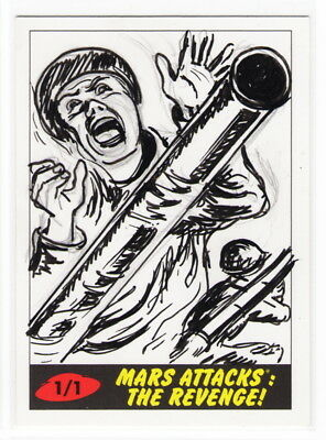 2017 TOPPS MARS ATTACKS THE REVENGE Neil Camera 1/1 Sketch Card THE HUMAN TORCH