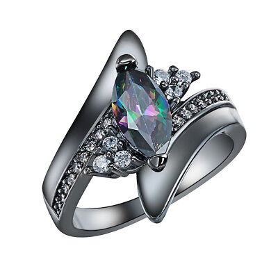 Fashion Colorful Crystal Ring Black Gold Filled Ring Size 7 Wedding Rings QW90
