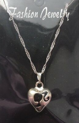 Barbie Style Necklace Silhouette Black Double Sided Heart Shape