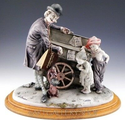 Giuseppe Armani Italy Large Figurine Sculpture ORGAN GRINDER OLD MAN BOY GIRL