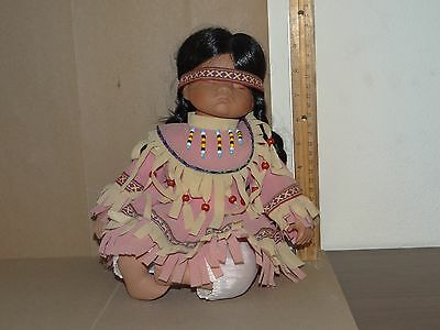 Porcelain Native American Baby Sleeping Doll Toy