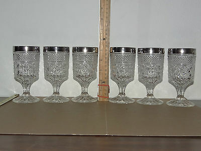 "6 Anchor Hocking Wexford Crystal Glass Wine Goblet Silver Trim Cup 5-3/8"" Tall"