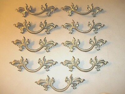 (9)  Vintage Brass And Paint Finish French Provincial Drawer Pulls / Handles