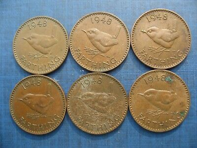Six George VI Farthings 1948.