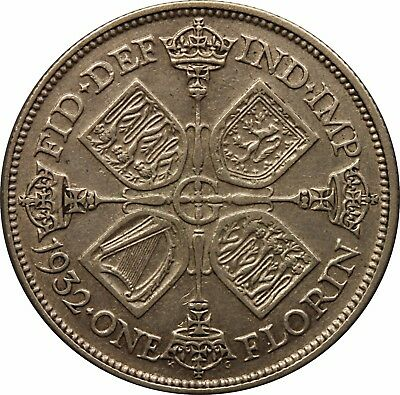 1932 King George V Florin silver coin
