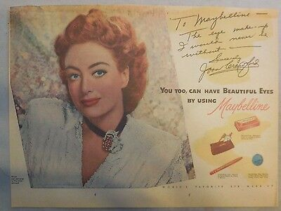 Maybelline Ad: Joan Crawford Maybelline Eye Makeup!  from 1940's