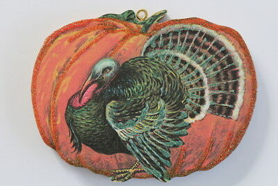 Turkey & Pumpkin * Thanksgiving  Ornament * Vintage Card Image * Glittered
