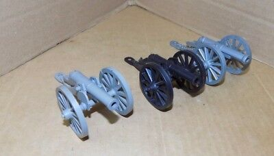 1960's Marx Civil war play set wheeled Cannons lot of 3 in different colors