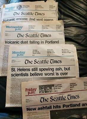 Seattle Times - Mt. St. Helens Eruption 1980 - 4 papers 3/31, 4/2, 5/19, 6/13