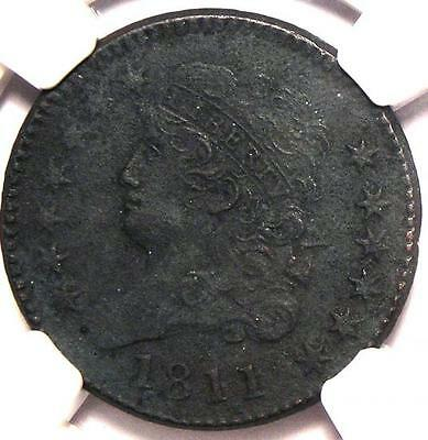 1811 Classic Head Half Cent 1/2C - NGC AU Details - Very Rare Key Date Coin