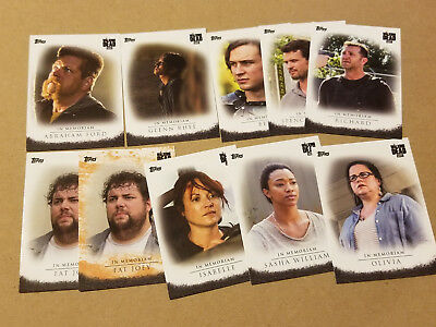 2017 Topps The Walking Dead Season 7 Target Excusive In Memoriam 9 Card Set