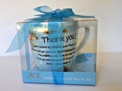 "THANK YOU! COFFEE MUG TEA CUP BLUE HAND MADE NEW BONE CHINA 4.5"" Tall Gift Boxed"
