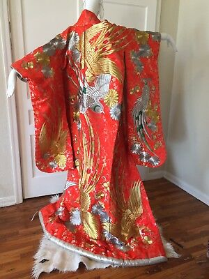 Vintage Uchikake Japanese Wedding Kimono Red Silk Cranes embroidered