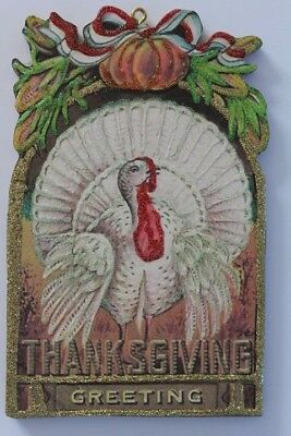 White Turkey * Thanksgiving Large Ornament * Vintage Card Image * Glittered