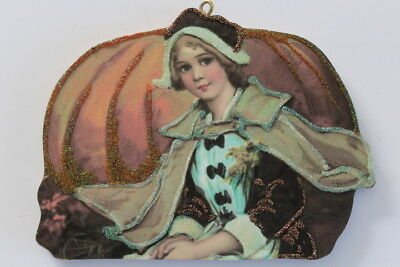 Pilgrim Lady * Thanksgiving Large Ornament * Vintage Card Image * Glittered